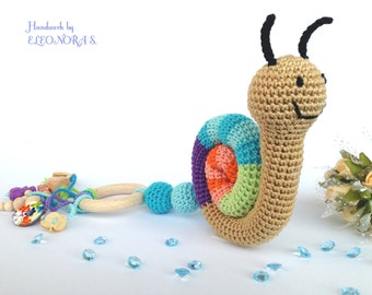 Baby teething toy rattle Crochet toy snail  Teething ring first gift First baby toy