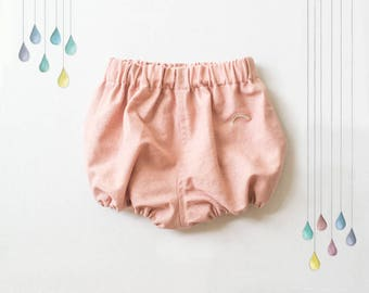 Blush Linen Bloomers With Embroidered Rainbow, Dusty Rose Sitter Outfit, Baby Girl Clothes, Pink Linen Baby Bloomers, Rainbow Baby