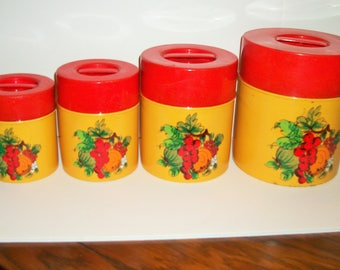 Retro 4 Piece Cannister Set 1960's Yellow and Red Fruit Decor Camping Cottage Farmhouse