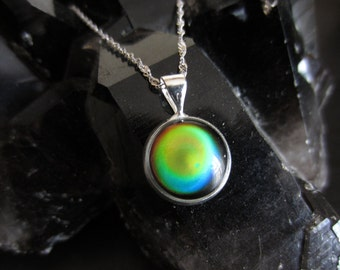 Mood Necklace, Sterling Silver Mood Jewelry, Color Changing, Mood Pendant, Gifts For Her, Retro Jewelry, Hippie, Mood Stone
