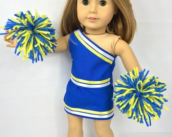 """Doll cheerleading clothes, doll cheerleader uniform, 18"""" doll clothes, blue yellow gold abd white, doll costume, doll pom poms, doll"""