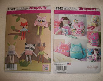 Simplicity 1342 or Simplicity 1549..Stuffed Dolls and Animals & Baby Toys Patterns..Emmi's Cottage Patterns..Stuffed Owl, Fox, Bunny Pattern