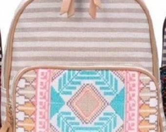 Stripe Print Braid Strap BackPack BIEGE