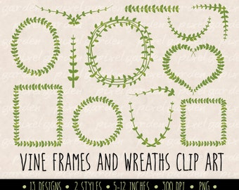 Digital Leaf Wreath and Laurel Clip Art. Green Laurel Wreath and Leaves Clipart. Vine Frames and Borders for Wedding, Cards and Scrapbooking