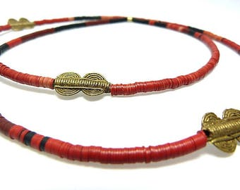 African chain of Bakelitplättchen in red with brass beads from Ghana, African trade beads