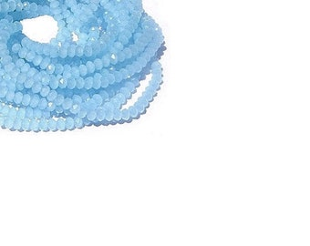 4MM Faceted Blue Chalcedony Rondelle Gemstone Beads  , 16 Inch Strand