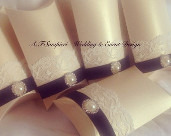 Stunning Wedding Favours, Ivory Lace & Pearl Pillow Box
