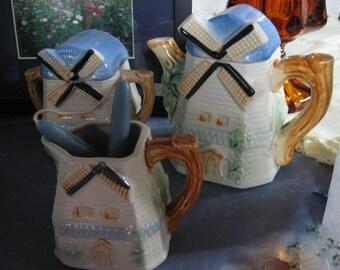 Vintage Holland Windmill Creamer, Sugar And Teapot