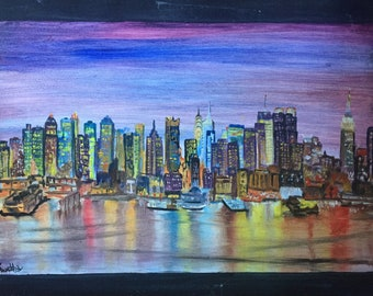 New York City Lights Oil painting on canvas cityscape