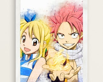 Natsu Lucy Poster Anime Watercolor Art Print, Lucy Big Sizes Available, Christmas Otaku Gift SW111