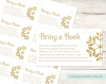 bring a book instead of a card insert printable baby shower DIY white gold glitter snowflakes gender neutral digital - INSTANT DOWNLOAD