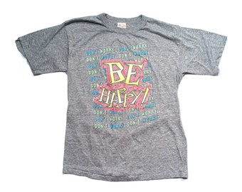 80s Don't Worry Be Happy Heather Grey Super Soft Tee Sz XL X-Large Paper Thin 50/50 Polycotton