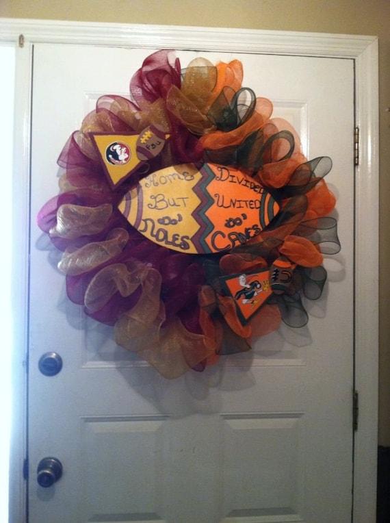FSU Seminoles - Miami Huricanes - House Divided Wreath - ACC - College Football - FSU -  University Of Miami - Collegiate Sports - Mancave