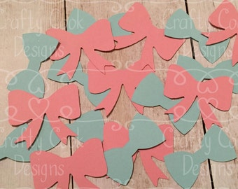 Gender Reveal Confetti - Bow and Bowtie Confetti - Pink or Blue - Team Pink, Team Blue - Baby Shower - Gender Reveal