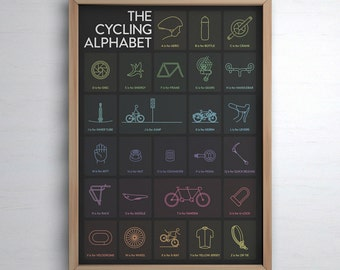 The Cycling Alphabet Poster Print - Dark Edition - Cycling Art Illustrated in the UK