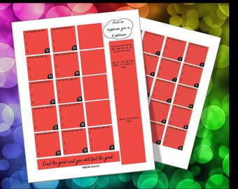 Big Happy Planner Monthly Layout - Journaling, 3 Good Things Daily (Red)
