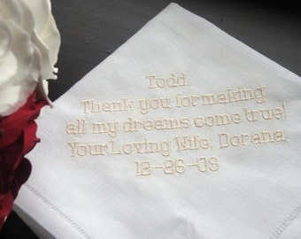Personalized Wedding Gift- Wedding Linen Handkerchief for your Groom 7B