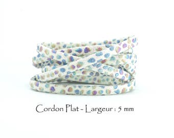 2 M - Cord faux textured and glittery - width: 5 mm / Ep. : 2 mm - white background