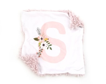 Personalized Lovey Monogram Blush Sprigs and Blooms. Lovey. Blush Lovey. Mini Baby Blanket. Security Blanket. Lovie. Minky Lovey.