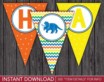 Dinosaur Happy Birthday Banner - Dinosaur Party Decorations - Printable Digital File - INSTANT DOWNLOAD