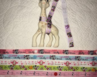 Sophie the giraffe toy harness leash saver Mickey and Minnie grosgrain ribbon