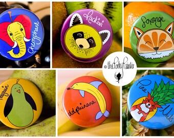 Fruinimal Fridge Magnet Set-Funny Fruit Animal Puns-Christmas Gifts for Family-Stocking Stuffer-Kids Party Bag Fillers-Vegan Secret Santa