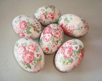 Set of decoupage wood eggs. Shabby eggs. Wooden decorative eggs. Home decor. Spring eggs. Easter eggs