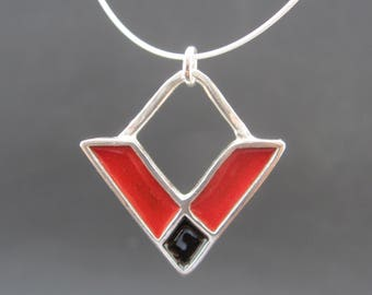 Crossroads Necklace - New Century Modern - Red and Black Reversible Enamel Necklace
