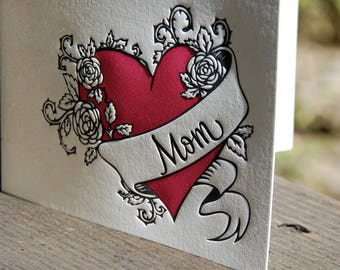 Letterpress Mother's Day Card - Mom Tattoo
