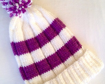 READY TO SHIP // Striped Knit Hat, Winter Beanie, Knit Ski Hat, Striped Winter Hat, Color Block Knit Hat, Handmade Knits, Hand Knit Hat