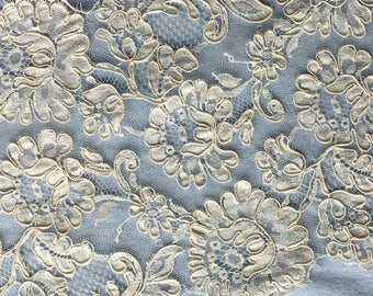 """Ivory French Galloon Lace 9"""" wide-Sold/priced by the yard"""
