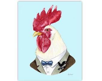 Rooster print 8x10 - Year of the Rooster - Ryan Berkley Illustration - Dapper Animals - Modern Nursery - Modern Decor