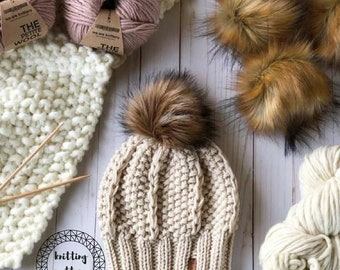 The Adaline Beanie knitting pattern // slouchy hat // textured hat pattern // instant download