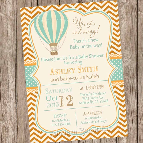 Attractive Vintage Hot Air Balloon Baby Shower Invitation Up Up And