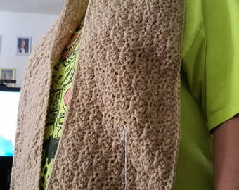 Hand crocheted hooded scarf
