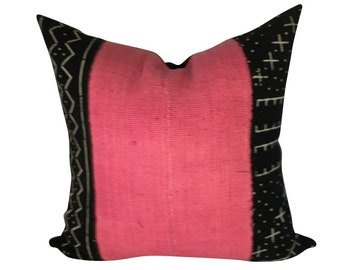Mudcloth Throw Pillow, Black and Pink Pillow Cover, Authentic Mud Cloth, Spring Home Décor, Boho Pillow, Mudcloth Pillow