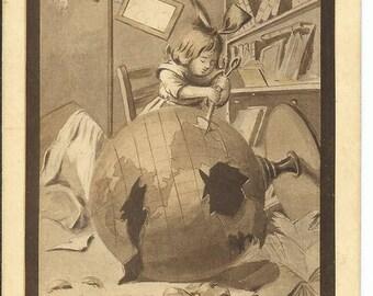 "1910 ""Destruction of the World"" H. Horina Signed Postcard"