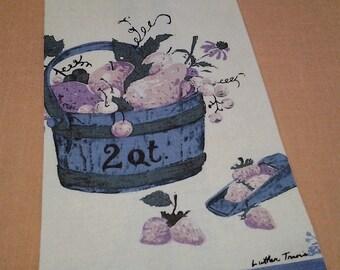 Vintage Tea Towel, Luther Travis, fruit, linen, retro,  FREE Shipping!