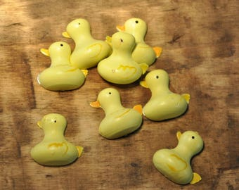 Set of 10 subjects ornaments wood - yellow ducks