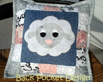 """White and Grey Fluffy Sheep Quilted Denim 10"""" Toss Pillow made with recycled denim jeans"""