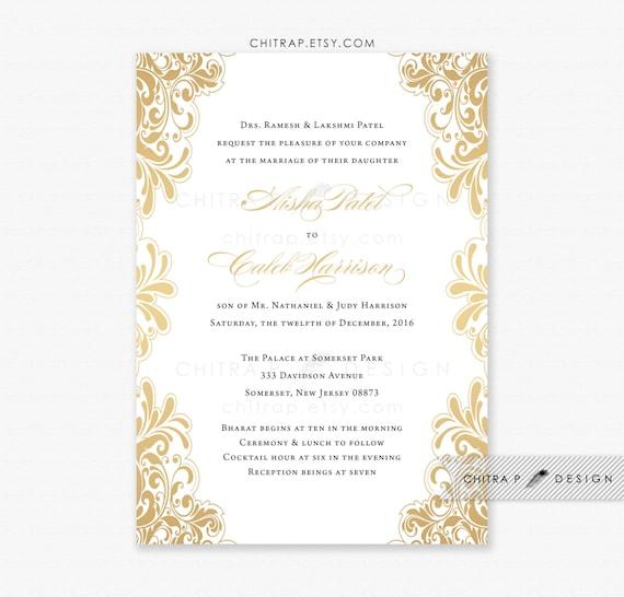 Items similar to Gold Wedding Invitation - Printed, White Black ...