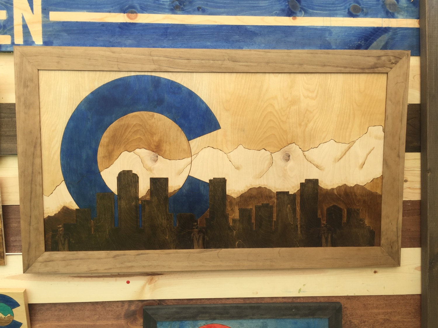 Large Colorado Mountain Denver Skyline Pyrography Wall Art in