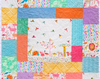 Cute Baby Quilt, Origami Oasis, Primary Colors, Michael Miller, Giraffes, Zebras, Lions, Trees, Birdies, Reversible, Handmade in USA