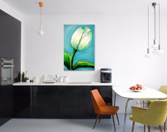 Contemporary Floral, fine Art Painting, home living, 60x 90 cm canvas , tulip painting, flower painting, living room, white tulip