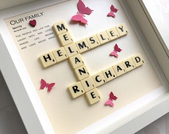 Scrabble frame, scrabble gift, family frame, scrabble art, personalised gift, scrabble tiles, family gift, gift for mom, personalized frame
