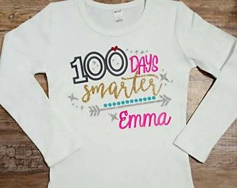 100 Days Of School Shirt, 100 Days Smarter Shirt Girls