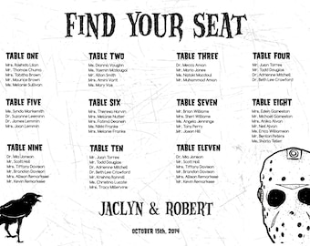 Horror Halloween Seating Chart Digital Design Printable PDF Custom Personal Poster Print File ONLY Seating Plan Gothic Dark Offbeat