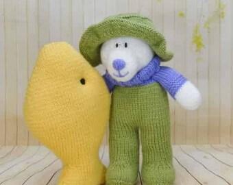 KNITTING PATTERN - Gone Fishing Bear soft toy Knitting Pattern Download from Knitting by Post