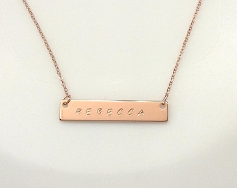 Bar Necklace, Personalized Name Necklace, Custom Hand Stamped Bar Necklace, Rose Gold plated Bar Necklace, Rose Gold plated Name Necklace