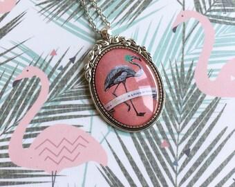 Flamingo cabochon necklace